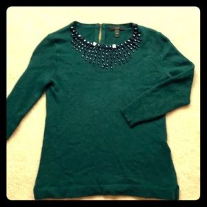 Gorgeous Hunter green sweater with beading!